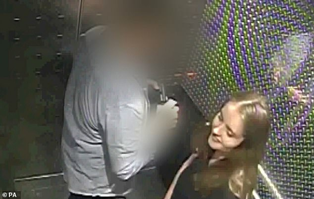 Ms Millane, of Wickford, Essex, was killed by 27-year-old Jesse Kempson in December 2018 after the pair went on a Tinder date . Pictured: CCTV the backpacker inside a hotel lift with Kempson, 27. It was the last footage of her alive