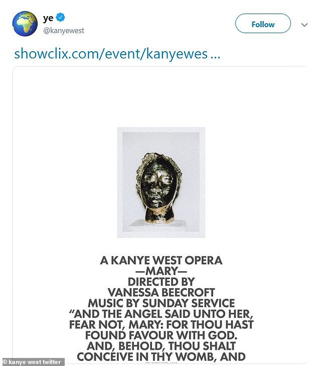 Opera:West took to Twitter on Thursday for a rare tweet where he promoted the opera, which was directed by Nicole Beecroft with music by the Sunday Service choir