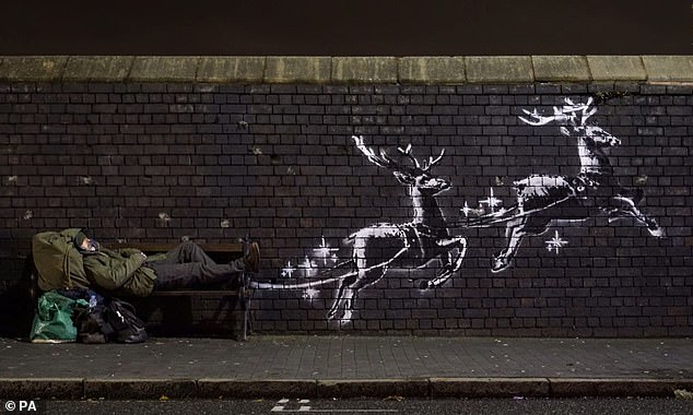 Banksy's last mural appeared in Birmingham in December showing a homeless man on a bench being pulled along by a herd of reindeer
