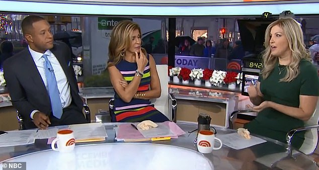 On Wednesday, Dahlgren (right) spoke to Today hosts Craig Melvin (left) and Hoda Kotb (center) about her breast cancel battle and how her own reporting helped her detect her tumor