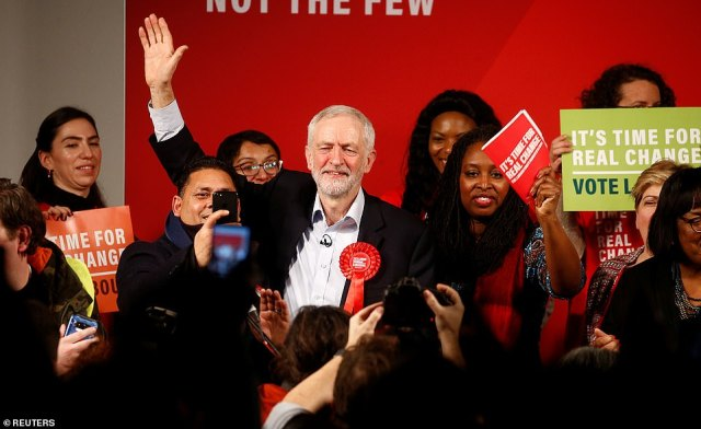 Final push: Jeremy Corbyn in London yesterday on the final day of the general election campaign. He will win easily in his North London constituency but will be expected to address the emerging national picture
