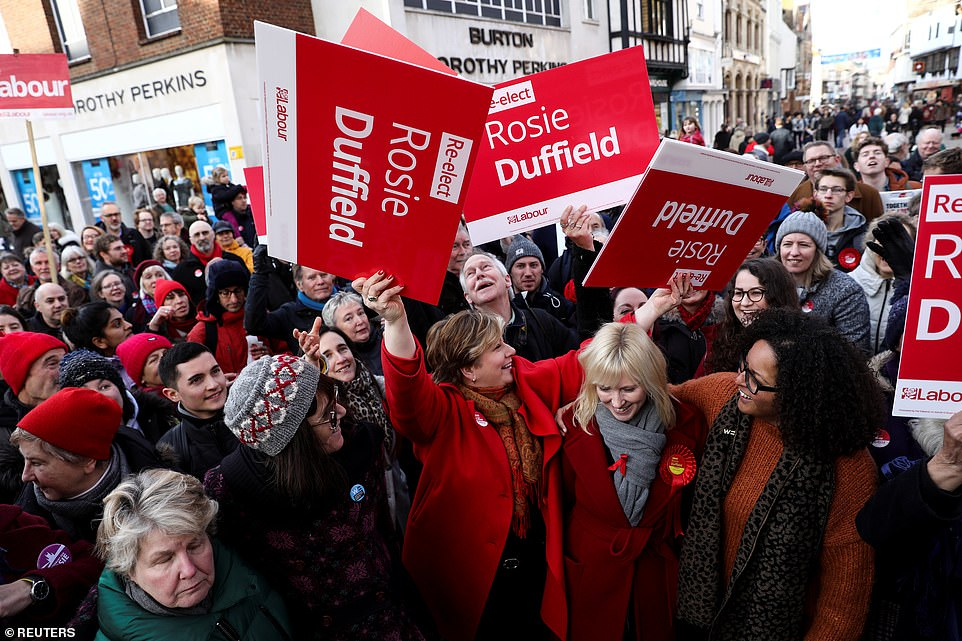 Marginal seat: Labour's Emily Thornberry and Rosie Duffield, who won Canterbury for the party in 2017, campaign in the seat on December 1. Labour has a tiny majority but tactical voting could see them hang on