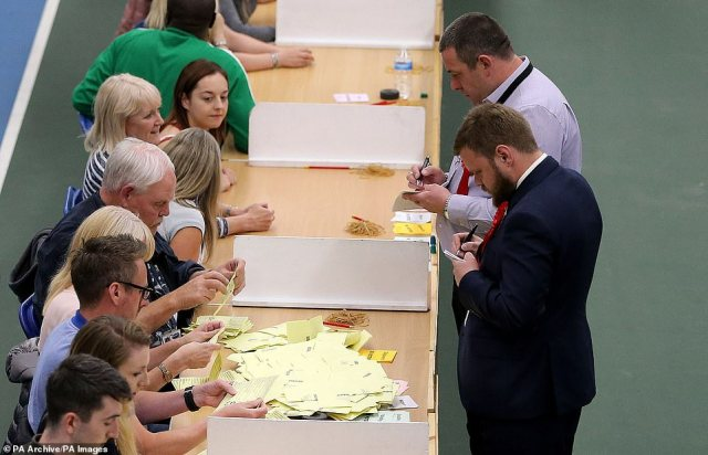 Race toe be first:Election staff count ballot papers for the General Election at Silksworth Community Centre in Sunderland. Two early seats in the North East will be held by Labour but could give an indication of swing to or from the Conservatives
