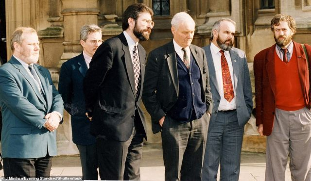 Meeting: Gerard McLaughlin (far left) and Jeremy Corbyn (far right) with bespectacled Gerry Adams and Tony Benn at the House of Commons in 1994