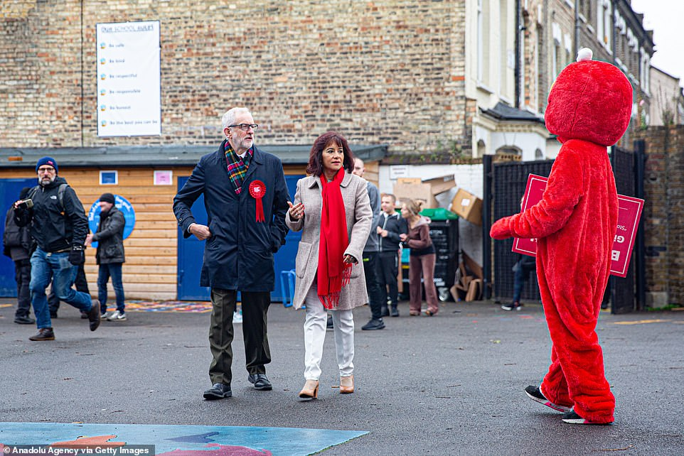 But the Tory lead over Jeremy Corbyn's (pictured voting today with wife Laura Alvarez) Labour has been whittled down to its narrowest of the whole election, according to a CoRmes poll