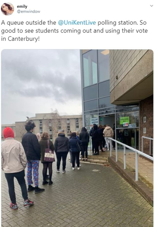 There were large queues at the University of Kent in Canterbury, a seat Labour is desperate to keep hold of