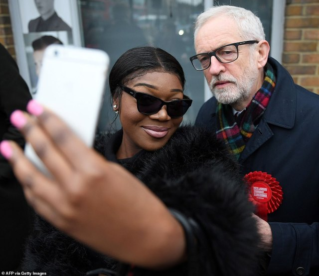 Jeremy Corbyn posed for a selfie outside his local polling station with a hung Parliament a major possibility according to the polls