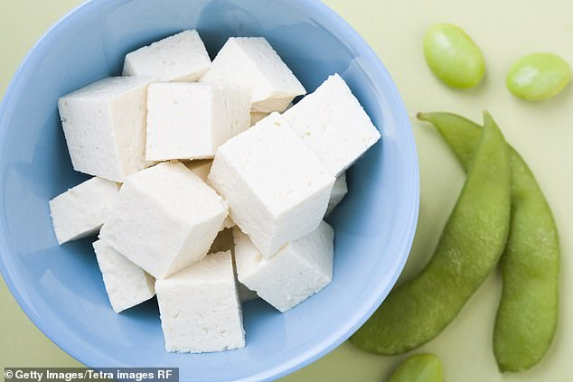 Tofu is rich in protein and can contain calcium, both of which are sleep-promoting compounds. Pictured: stock image