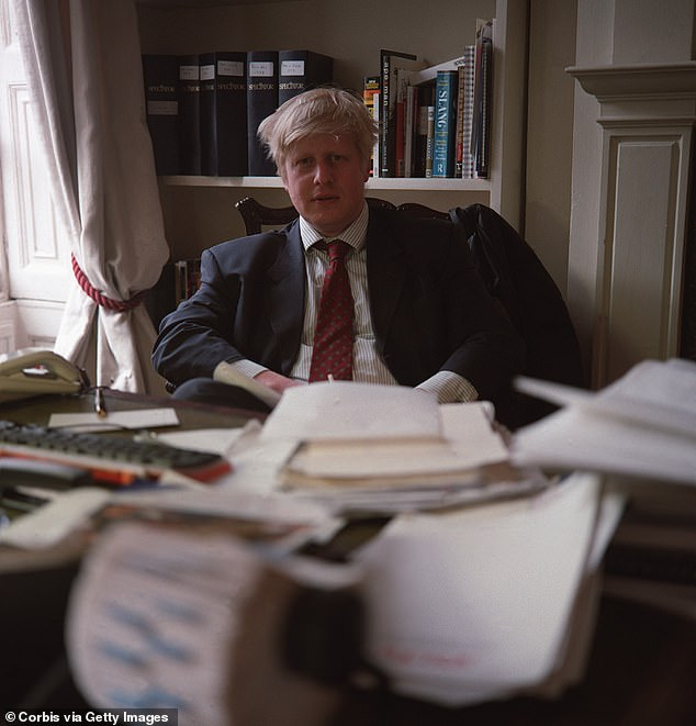 The Telegraph journalist and editor of the New Statesman; Johnson pictured in 2000