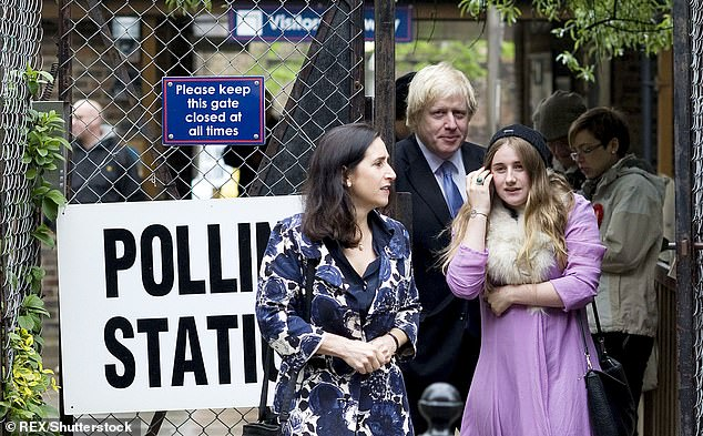 Johnson with his ex-wife Marina Wheeler and daughter Lara Johnson as she votes for the first time in May 2012