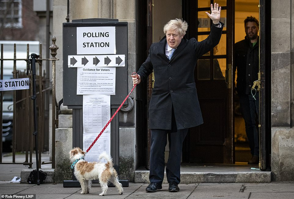 Prime Minister Boris Johnson with Dilyn the dog at Methodist Central Hall to cast his vote in the 2019 General Election
