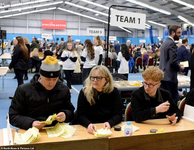 Counting is carried out at Sunderland Tennis Centre, with the Tories looking to smash Labour's 'red wall' and redraw the political map