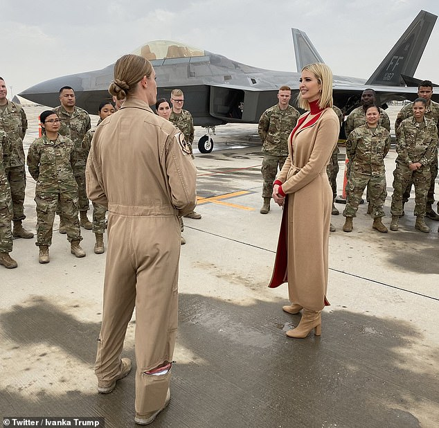 She shared images from her trip on Instagram, while writing that it was 'an honor' to visit the base and to 'thank the brave men and women who keep America safe'