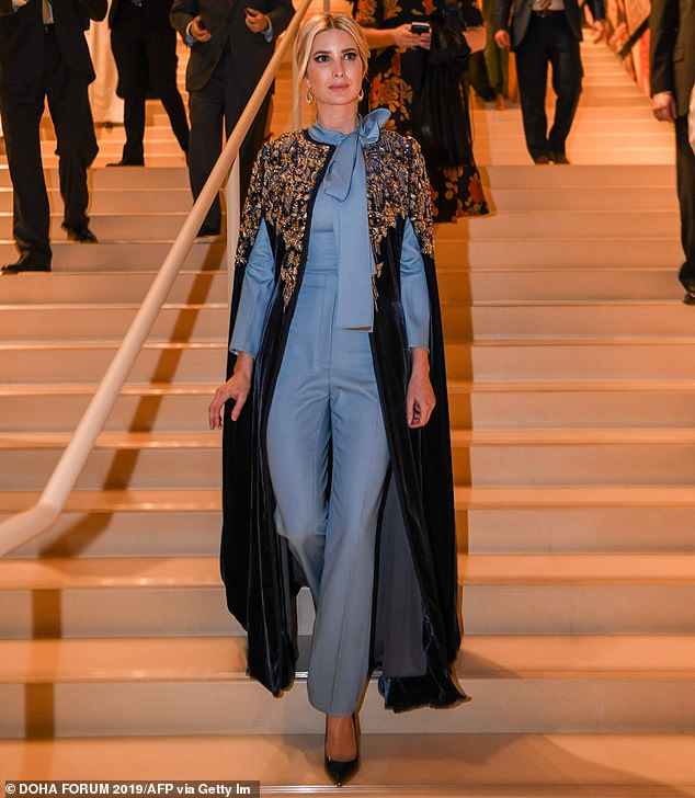 Ivanka Trump, 37, wore a tailored kaftan by Jabador at the National Museum of Qatar during the Doha Forum in the Qatari capital on Saturday