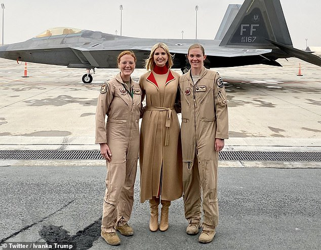 Before heading home to D.C., the first daughter paid a visit to Al-Udeid Air Base