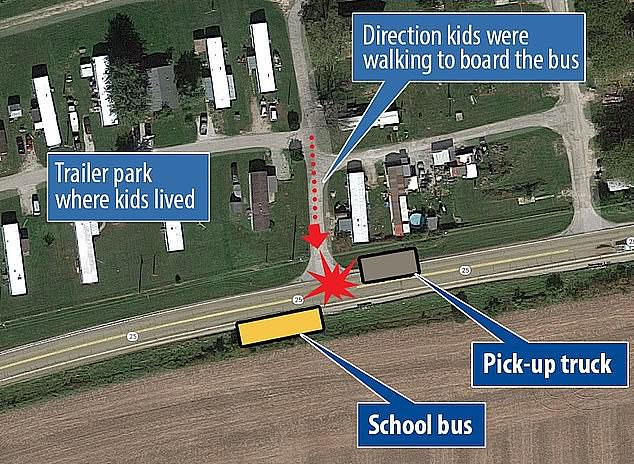 This map shows how the children were crossing the street when Shephard's Toyota pickup truck hit them as they were trying to reach their school bus on a rural Indiana road