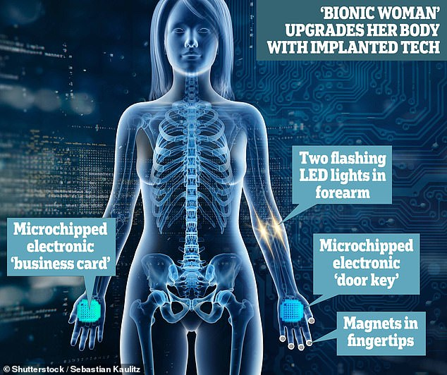 Now, Ms Mraz has two microchips to open doors and send information, as well as LED lights in her arm and magnets in her fingers
