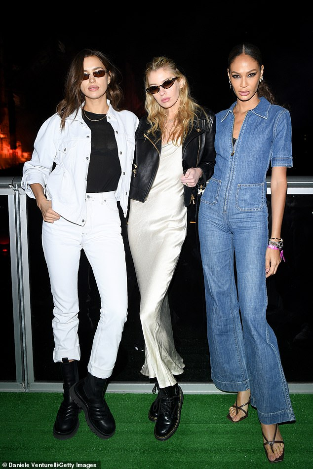 The celebrities have been accused of being 'shameless' and accepting six-figure sums to help rehabilitate Saudi Arabia's image. Pictured isIrina Shayk, Stella Maxwell and Joan Smalls at the festival