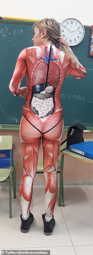 Mrs Duquewore the outfit for her eight and nine-year-old students