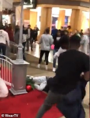 Dramatic video footage from Cordova Mall in Pensacola, Florida, on Saturday showed a group of teenagers brawling right next to where children line up to meet Santa Claus