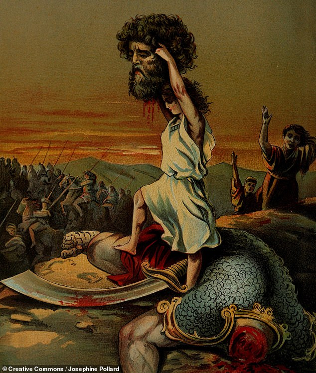 In a young man in his physical prime like David, a swollen jugular would only occur temporarily when in a state of excitation — such as the biblical hero might have experienced prior to fighting the giant Goliath. Pictured, a victorious David lifts the severed head of Goliath in this 1899 painting by Josephine Pollard