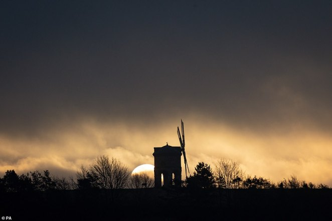 Met Office meteorologist Alex Burkill warned it would be a chilly end to 2019, despite the recent mild temperatures. Pictured: Chesterton Windmill in Warwickshire this morning