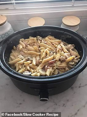 The woman shared her recipe for slow cooker carbonara (pictured)