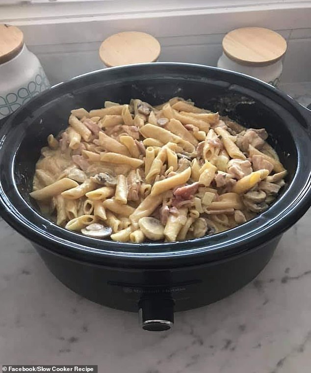 A woman has revealed how she whipped up the 'perfect' pasta carbonara in her slow cooker - and it's so easy to make it can be cooked while you do a day of work (pictured)