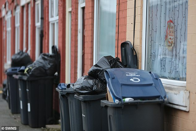 Birmingham City Council took to social media to blame staff sickness and absence for the missed pick-ups. Pictured: Residential street in Balsall Heath, Birmingham