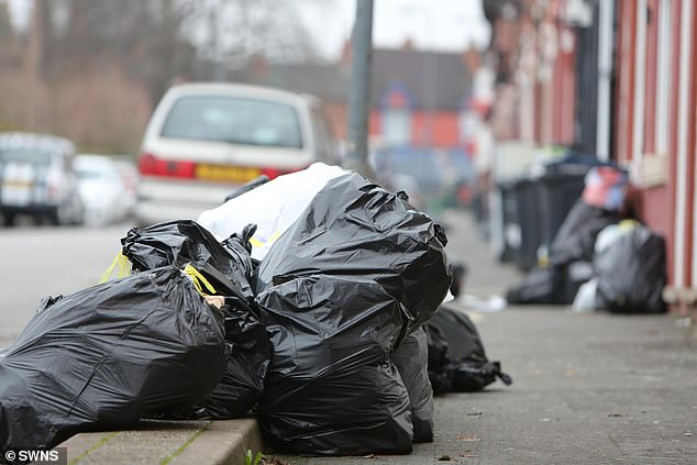 Another resident in Birmingham said that two large bins were overflowing to such an extent that it had created a grotesque arch of bursting black bags