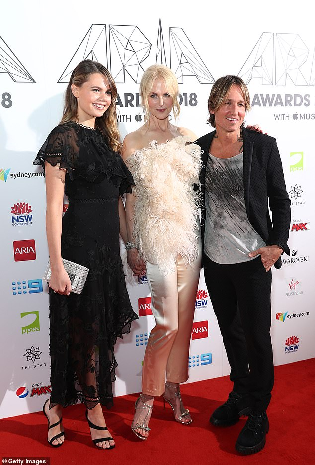 Just like Aunt Nic! Back in October, a source told Woman's Day that Lucia, who is currently studying journalism, has been eyeing an acting career - just like her Oscar-winning aunt Nicole (pictured centre, with her husband Keith Urban at the 2018 ARIA awards)
