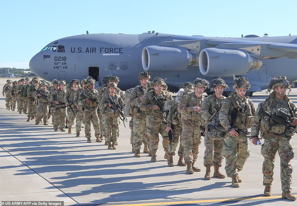 Paratroopers deploy to Kuwait from Pope Army Airfield near Fort Bragg in North Carolina on January 1, 2020