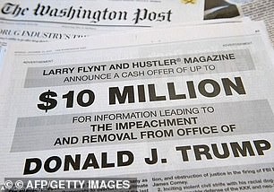 An ad in The Washington Post asking for 'information leading to the impeachment' of Donald Trump