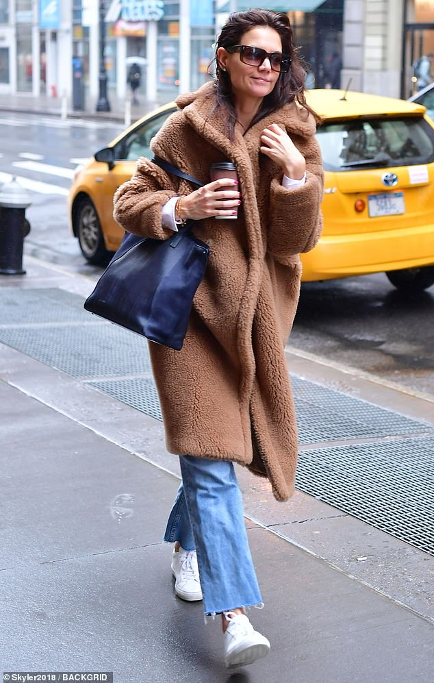 Spa day: Katie Holmes was seen exiting a taxi cab on Friday morning on her way to a spa appointment in Soho