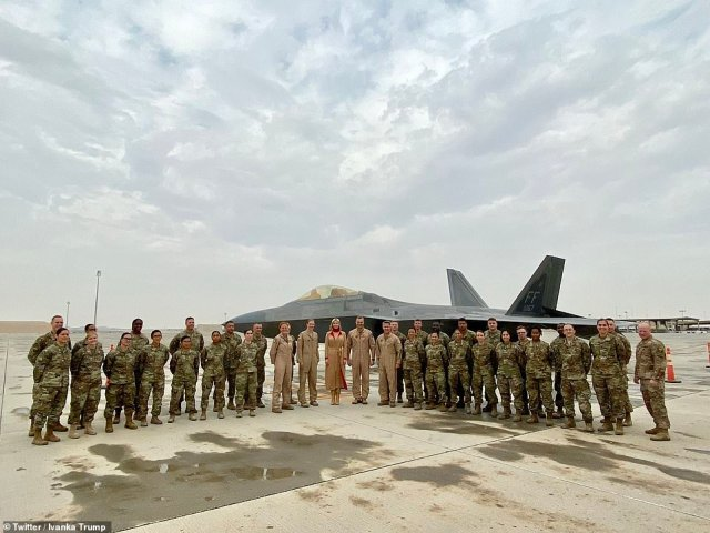 Al Udeid air base (pictured during Ivanka Trump's visit) in Qatar will be at the center of US efforts to establish air superiority in the event of a wider war. There are dozens of aircraft at the base, including F-22 fighters and B-52 bombers