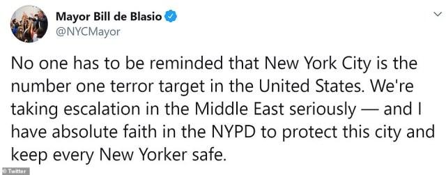 Burmistrz Nowego Jorku Bill de Blasio ogłosił, że miasto wzmocni bezpieczeństwo po irańskim nalocie