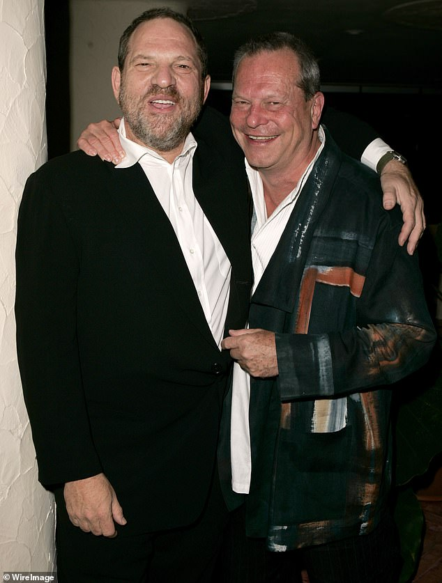 Controversial: Gilliam is seen right with Harvey Weinstein at the Venice Film Festival in 2005. Gilliam said that Weinstein's victims were 'adults who made choices'