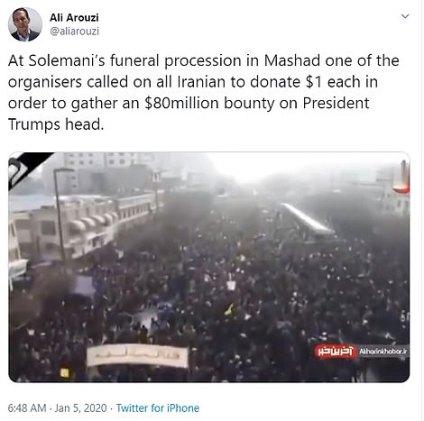 """Organizator pogrzebu dla Soleimani podobno wezwał wszystkich Irańczyków do przekazania 1 $ każdego """"w celu zebrania nagrody w wysokości 80 milionów dolarów na głowę prezydenta Trumpa"""""""
