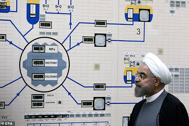 Rouhani visiting the Bushehr nuclear power plant in the city of Bushehr, Iran, in January 2015