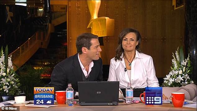Drunk: The reference was to his infamous lackluster performance on the Today Show after the Logies in 2009 (pictured) Karl admitted he was drunk when he hosted the post Logies show next to Lisa Wilkinson (right), but said everyone had been doing it 'for years'