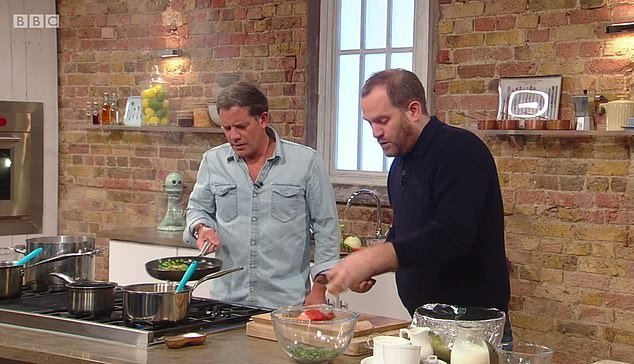 Children are twice as likely to choose an apple instead of crisps after watching a healthy cooking TV show, a study suggests. Saturday Kitchen, on BBC, is a long-standing British TV cooking programme in which celebrity chefs and guests cook dishes (pictured)