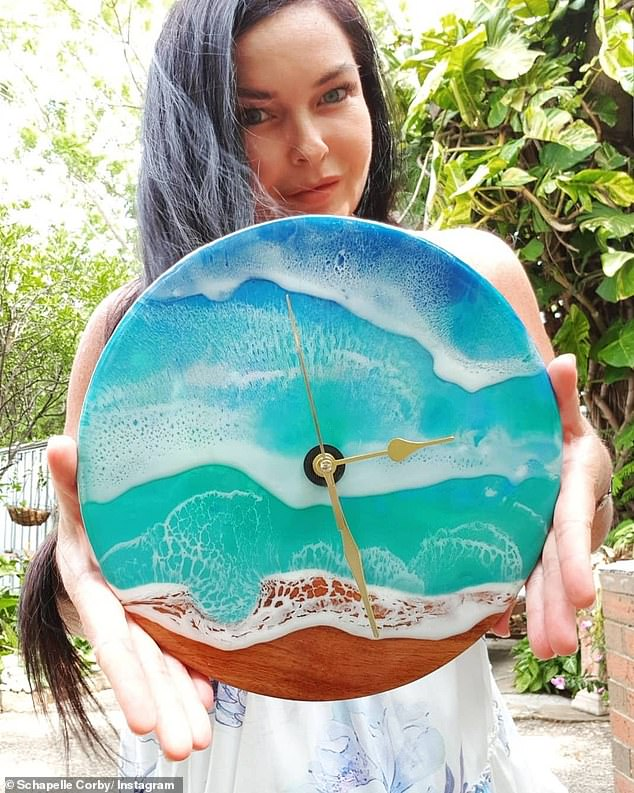 Hidden talents! Earlier this year, a resin clock she made herself out of recycled wood sold on website eBay after seven days at auction, for just over $1000