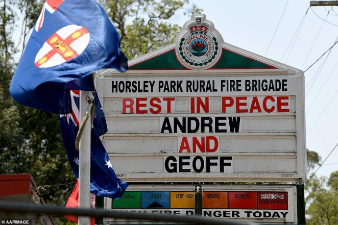 A message on the Horsley Park RFS board on December 20, the day after the tragedy, reads: 'Rest in peace Andrew and Geoff'