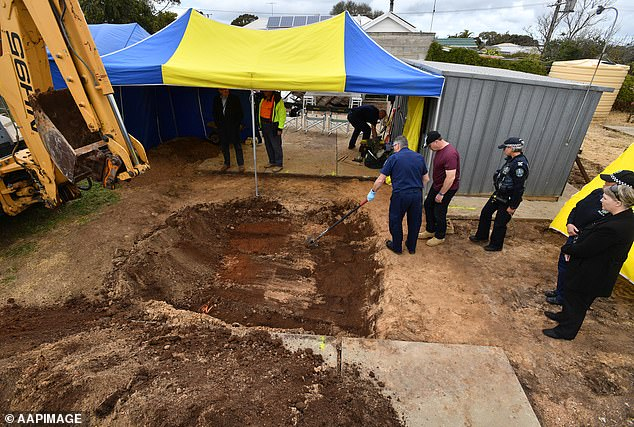 Adams, who led police to Mrs Adams' body during a dig (pictured) on the site in 2018, has pleaded guilty to her manslaughter but the plea was not accepted by prosecutors