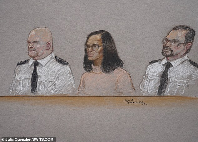 A court sketch pictured above of Sinaga (centre)  he has been jailed for life with a minimum term of 30 years