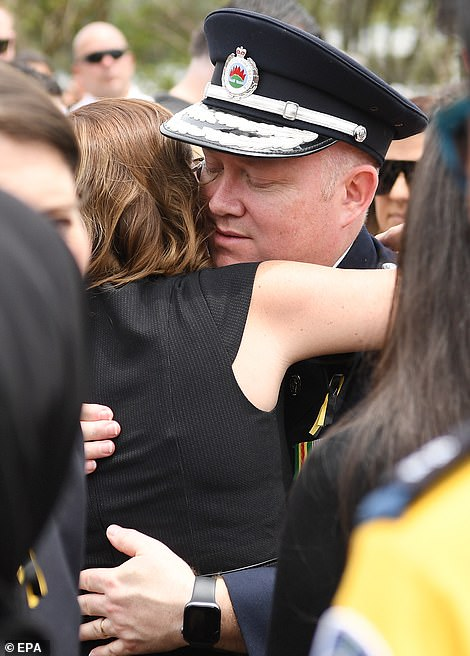 She was comforted by RFS commissioner Shane Fitzsimmonsmoments later