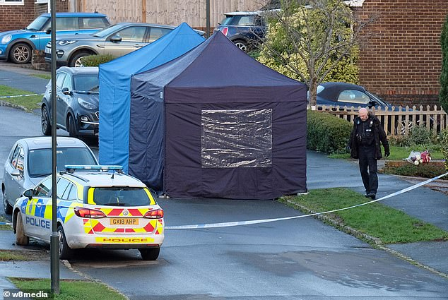 A forensic tent is pictured inside a police cordon in Crawley Down, West Sussex