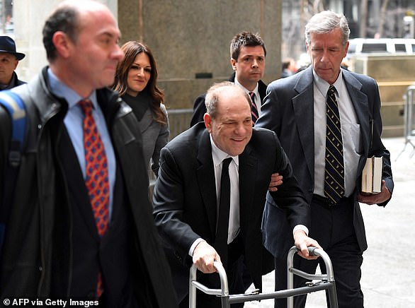 Harvey Weinstein was pictured smiling as he arrived at a New York court on January 6 as his lawyers and a judge handle the final preparation for his trial on charges of rape and sexual assault