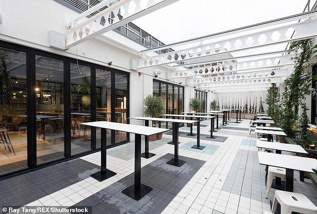 Food halls, where there are dozens of restaurants with communal seating areas are set to soar in 2020. Pictures is the rooftop bar area of the Market Hall West End. Taking over the former BHS store, its the largest food court in the UK with 35,000 square foot and seating for nine hundred guests served by 11 food vendors. There are also Maket Halls in Fulham and Victoria with other food courts across the country