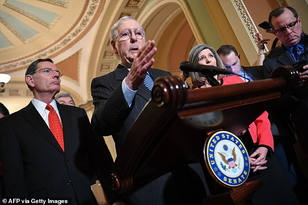 Senate Majority Leader Mitch McConnell said at a press conference Tuesday he wasn't told ahead of time that the attack that took out Osama bin Laden when Barack Obama was president. 'My reaction to it was Congratulations. You did the right thing,' McConnell said, asking 'where is the applause' from Democrats for Trump taking out Soleimani